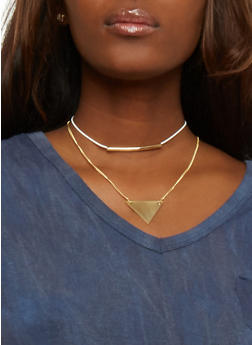 Layered Choker with Triangle and Bar Charms - 3123018436947