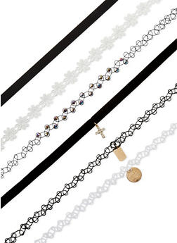 Set of 6 Assorted Tattoo and Crochet Chokers - 3123018437187