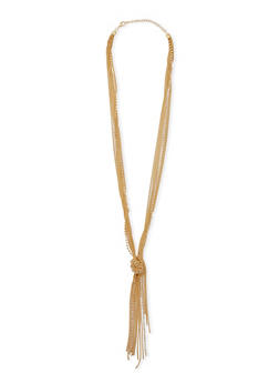 Knotted Tassel Multi Chain Necklace - 3123018438622