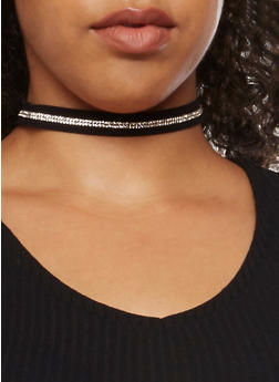 5 Piece Assorted Crochet and Rhinestone Faux Suede Choker Set - 3123018438889