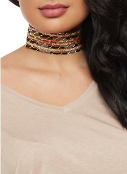 Wide Choker and Stud Earrings Set - 3123018439380