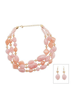 Tiered Marble Bead Necklace and Earrings Set - 3123035151002