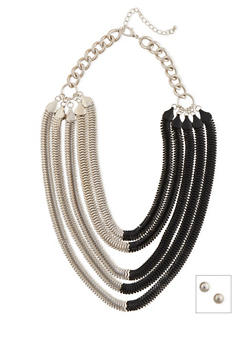 Layered Two-Tone Mesh Chain Necklace and Ball Stud Earrings Set - 3123035151166