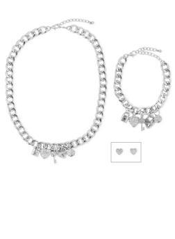 Rhinestone Charm Necklace Bracelet and Earrings Set - 3123035154578