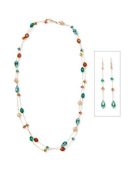 Layered Beaded Necklace with Beaded Drop Earrings - 3123035154999