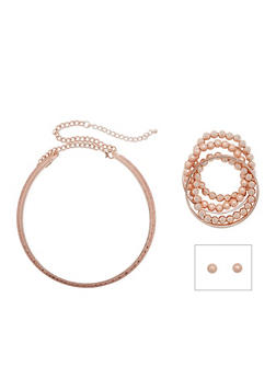 Glitter Collar Necklace Set with Assorted Bracelets and Earrings - 3123035155117