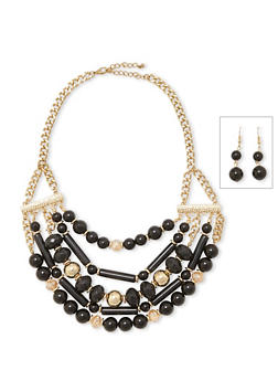 Multi Layer Beaded Necklace and Earrings Set - 3123035155220