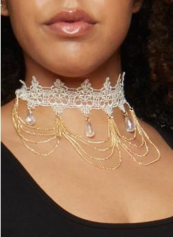 Teardrop Chain Fringe Crochet Choker - 3123035159461