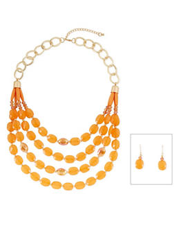 Tiered Stone Bead Necklace with French Wire Earrings - 3123035159654