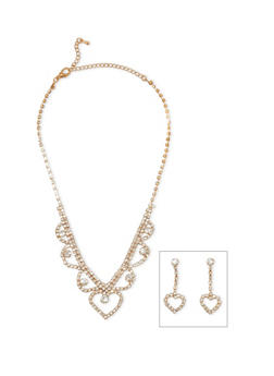 Rhinestone Heart Necklace and Dangling Earrings Set - 3123044091848