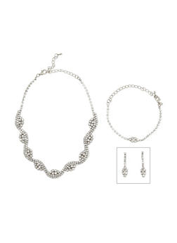 Curved Rhinestone Collar Necklace with Bracelet and Earrings Set - 3123044097366