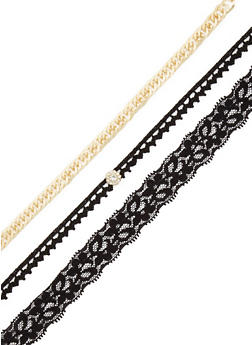Chain and Lace Choker Trio - 3123044099685
