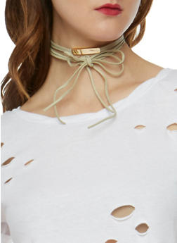Wrap Choker with Metal Bar Accent - 3123057690213