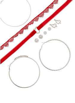 Set of 8 Crochet and Velvet Chokers with Assorted Earrings - 3123057690934
