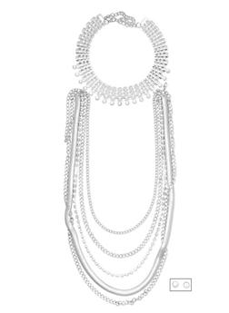 Tiered Necklace with Choker and Earrings Set - 3123057692033