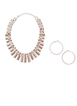Glitter Necklace and Hoop Earring Set - 3123057692636