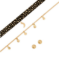 Rhinestone Clear Moon Charm Choker Trio and Earrings Set - 3123057692724