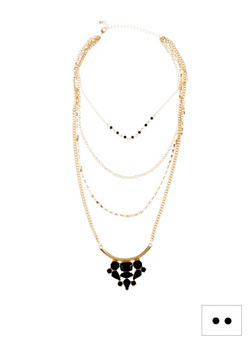 Necklace and Earrings Set with Beaded Accents - 3123057694496