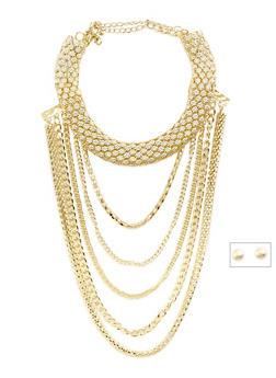 Mesh Chain Choker and Ball Earrings Set - 3123057698081
