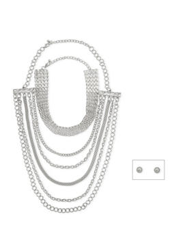 Wear 3 Ways Necklace and Stud Earrings Set - 3123057698082