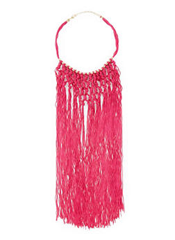 Beaded Fringe Crochet Necklace - 3123058561968