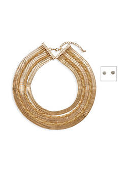 Mesh 5 Row Twisted Collar Necklace with Rhinestone Stud Earrings - 3123059632754