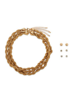 Trio of Metal Mesh Tube Necklaces and Stud Earrings - 3123059635592