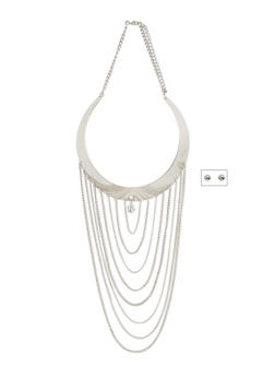 Tiered Chain Collar Necklace and Ball Stud Earrings Set - 3123059637078