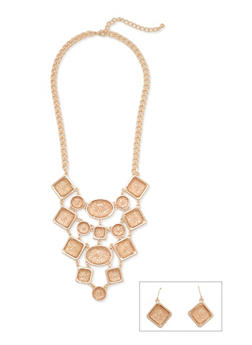 Pave Bib Necklace and Fish Hook Earrings Set - 3123059637414
