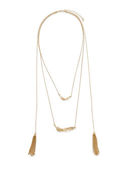 Layered Feather and Tassel Necklace - 3123059638594