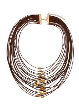 Multi Layer Necklace with Metallic Tube Beads - 3123059639318