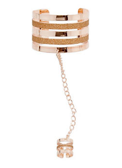 Cuff Bracelet with Attached Chain Ring - 3123062810190