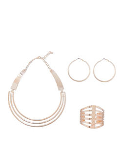 Cuff Necklace with Cuff Bracelet and Hoop Earrings Set - 3123062811490