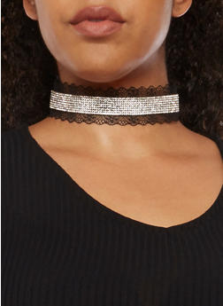 Rhinestone Choker Necklace with Lace Detail - 3123062814972