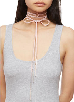 Faux Suede Wrap Choker Necklace with Metal Accents - 3123062815000