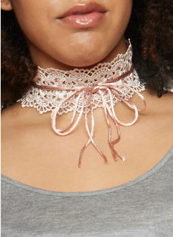 Lace Up Crochet Choker - 3123062817515