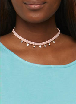 Assorted Faux Suede and Heart Charm Choker Trio - 3123062920179