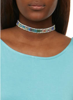 Rhinestone Chokers with Stud Earrings Set - 3123062920294