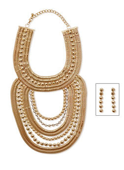 Multi Row Bib Necklace and Earrings Set - 3123062921769