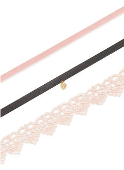 Lace Velvet Faux Leather Choker Trio - 3123062924897