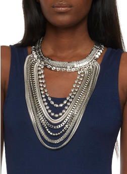 Large Metallic Bib Necklace with Earrings - 3123062925931