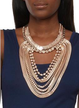 Large Metallic Bib Necklace with Earrings - 3123062925931