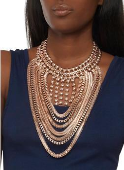 Large Metallic Mesh Bib Necklace and Earrings - 3123062925933