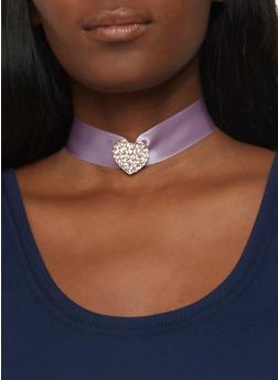 Rhinestone Heart Choker Set - 3123062925935
