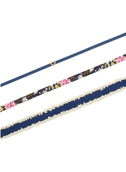 Assorted Denim and Floral Choker Trio - 3123062929254