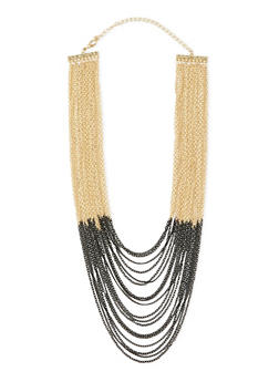 Two Toned Multi Layered Chain Link Necklace - 3123062929453