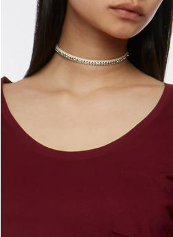 Set of 5 Rhinestone Studded Chokers - 3123062929545