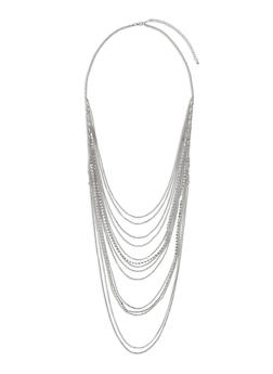 Multi Layered Rhinestone Chain Necklace - 3123062929623