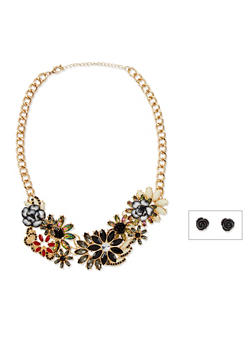 Multicolored Flower Collar Necklace and Earrings Set - 3123062929670