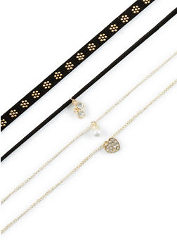 Stud and Charm Choker Set - 3123063097334